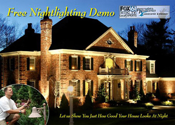 Night lighting demonstration, Landscape Lighting, low voltage lighting installation